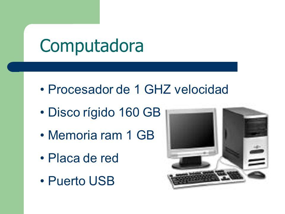 Computadora Procesador de 1 GHZ velocidad Disco rígido 160 GB Memoria ram 1 GB Placa de red Puerto USB