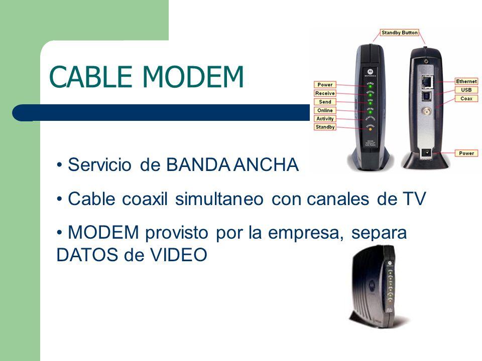 CABLE MODEM Servicio de BANDA ANCHA Cable coaxil simultaneo con canales de TV MODEM provisto por la empresa, separa DATOS de VIDEO