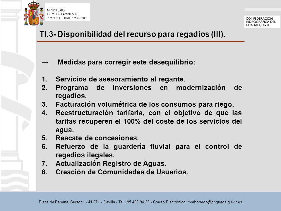 Plaza de España, Sector II - 41.071 - Sevilla - Tel.: 95 493 94 22 - Correo Electrónico: mmborrego@chguadalquivir.es. TI.3- Disponibilidad del recurso