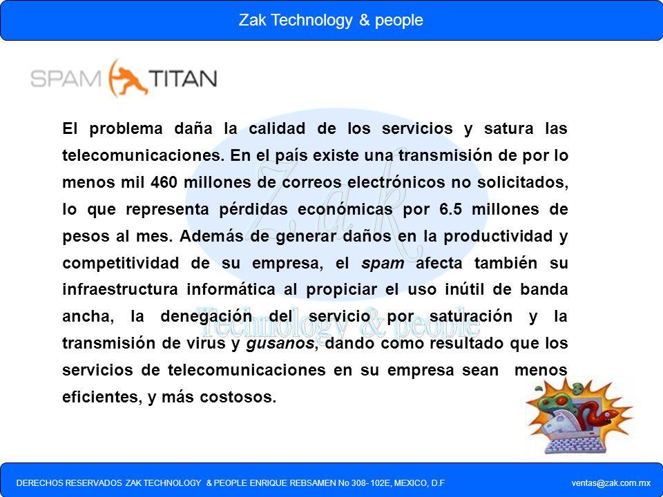 DERECHOS RESERVADOS ZAK TECHNOLOGY & PEOPLE ENRIQUE REBSAMEN No 308- 102E, MEXICO, D.F ventas@zak.com.mx Zak Technology & people SpamTitan es una solución de software anti-spam / anti-virus que permite filtrar el correo no deseado que recibe diariamente su empresa en cada uno de sus usuarios de e-mail.