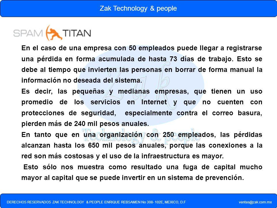 DERECHOS RESERVADOS ZAK TECHNOLOGY & PEOPLE ENRIQUE REBSAMEN No 308- 102E, MEXICO, D.F ventas@zak.com.mx Zak Technology & people En el caso de una emp