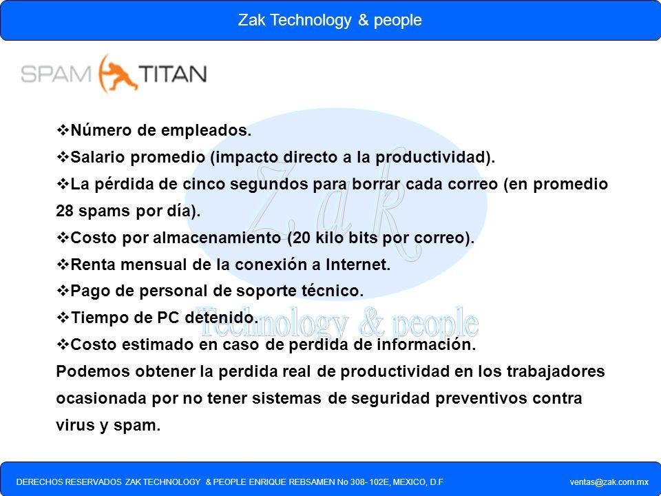 DERECHOS RESERVADOS ZAK TECHNOLOGY & PEOPLE ENRIQUE REBSAMEN No 308- 102E, MEXICO, D.F ventas@zak.com.mx Zak Technology & people Número de empleados.
