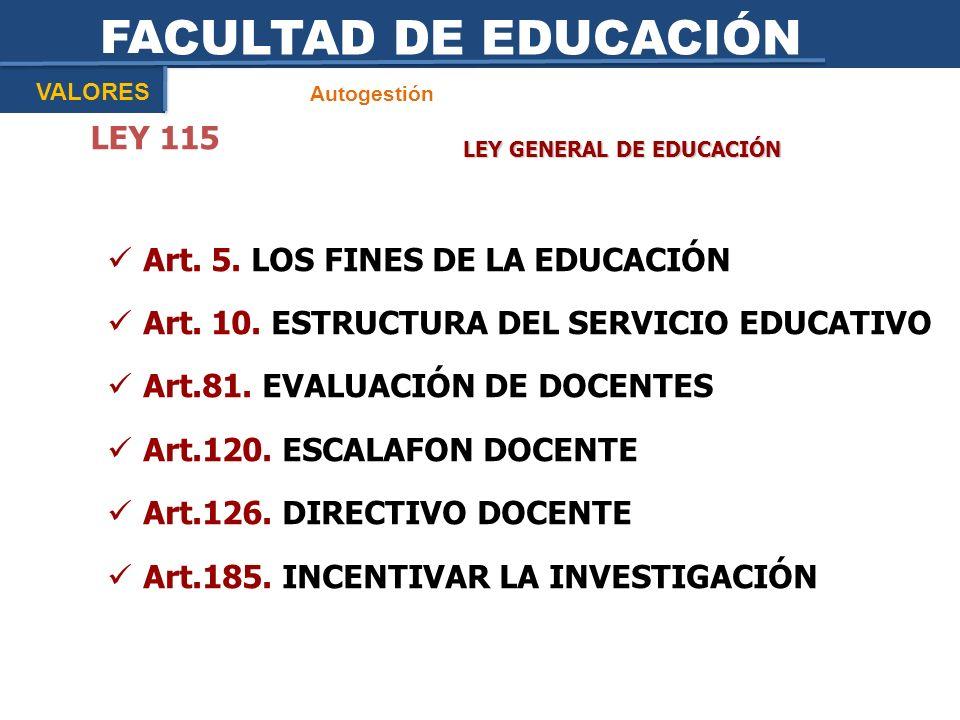FACULTAD DE EDUCACIÓN Autogestión VALORES LEY GENERAL DE EDUCACIÓN LEY 115 Art. 5. LOS FINES DE LA EDUCACIÓN Art. 10. ESTRUCTURA DEL SERVICIO EDUCATIV