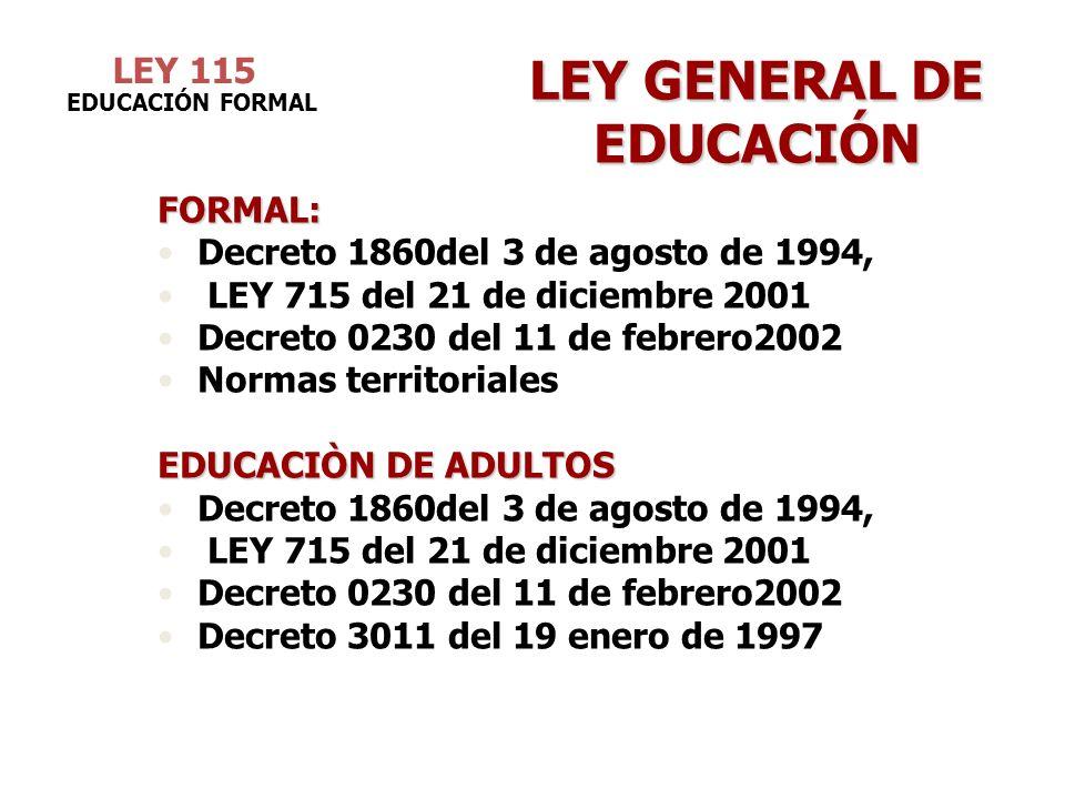 LEY 115 LEY GENERAL DE EDUCACIÓN FORMAL: Decreto 1860del 3 de agosto de 1994, LEY 715 del 21 de diciembre 2001 Decreto 0230 del 11 de febrero2002 Norm