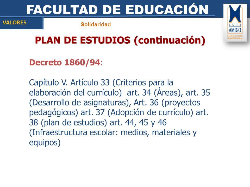 FACULTAD DE EDUCACIÓN Solidaridad VALORES PLAN DE ESTUDIOS (continuación) Decreto 1860/94: Capítulo V. Artículo 33 (Criterios para la elaboración del
