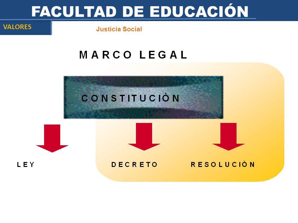 FACULTAD DE EDUCACIÓN Justicia Social VALORES