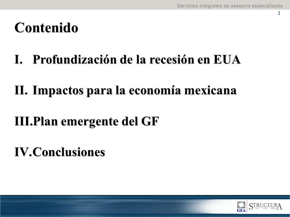 Servicios integrales de asesoría especializada 2 Contenido I.Profundización de la recesión en EUA II.Impactos para la economía mexicana III.Plan emergente del GF IV.Conclusiones