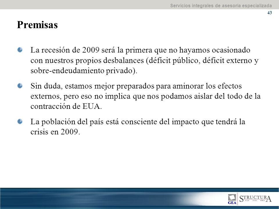 Servicios integrales de asesoría especializada 43 Premisas La recesión de 2009 será la primera que no hayamos ocasionado con nuestros propios desbalances (déficit público, déficit externo y sobre-endeudamiento privado).