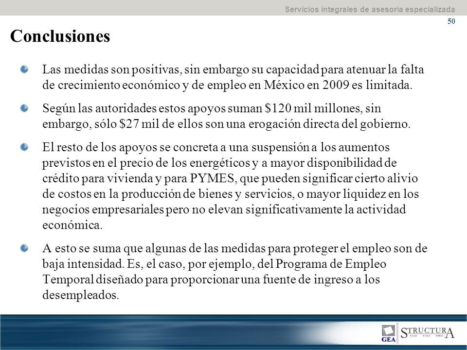 Servicios integrales de asesoría especializada 50 Conclusiones Las medidas son positivas, sin embargo su capacidad para atenuar la falta de crecimiento económico y de empleo en México en 2009 es limitada.