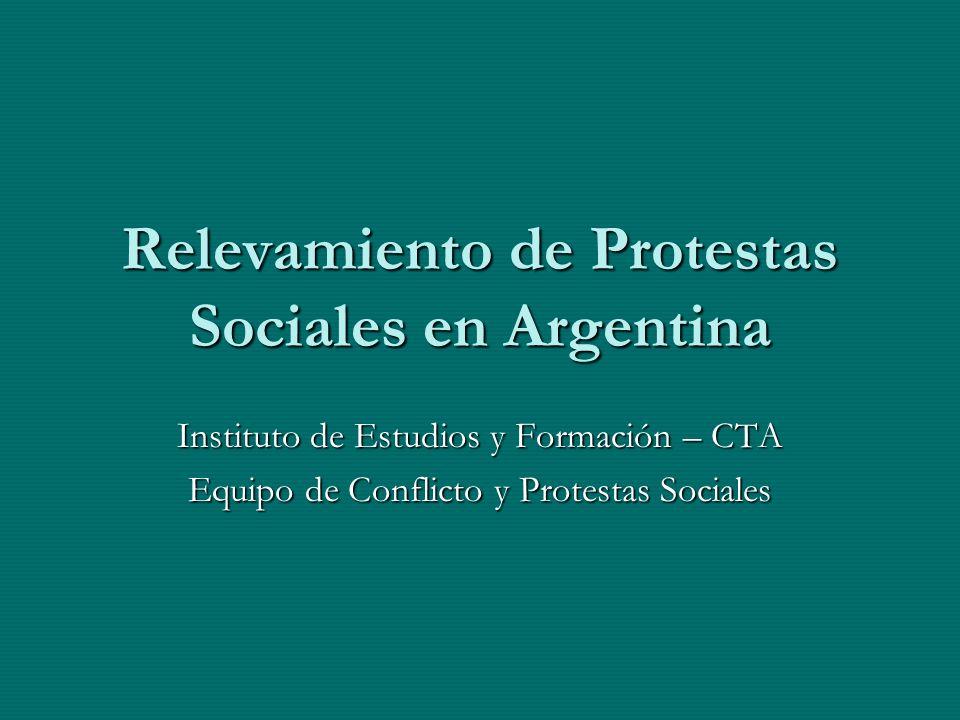Relevamiento de Protestas Sociales en Argentina Instituto de Estudios y Formación – CTA Equipo de Conflicto y Protestas Sociales