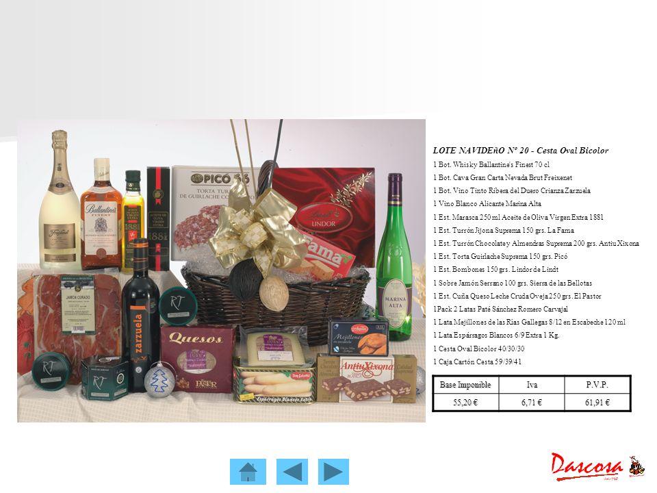 LOTE NAVIDEñO Nº 20 - Cesta Oval Bicolor 1 Bot. Whisky Ballantine's Finest 70 cl 1 Bot. Cava Gran Carta Nevada Brut Freixenet 1 Bot. Vino Tinto Ribera