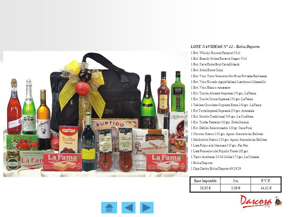 LOTE NAVIDEñO Nº 22 - Bolsa Deporte 1 Bot. Whisky Escocés Passport 50 cl 1 Bot. Brandy Solera Reserva Magno 50 cl 1 Bot. Cava Extra Brut Castellblanch