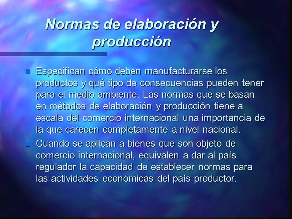 Normas de elaboración y producción n Especifican cómo deben manufacturarse los productos y qué tipo de consecuencias pueden tener para el medio ambien