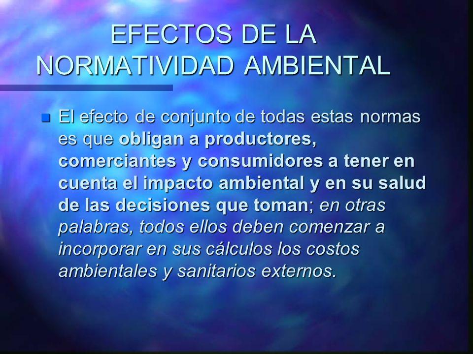 EFECTOS DE LA NORMATIVIDAD AMBIENTAL n El efecto de conjunto de todas estas normas es que obligan a productores, comerciantes y consumidores a tener e