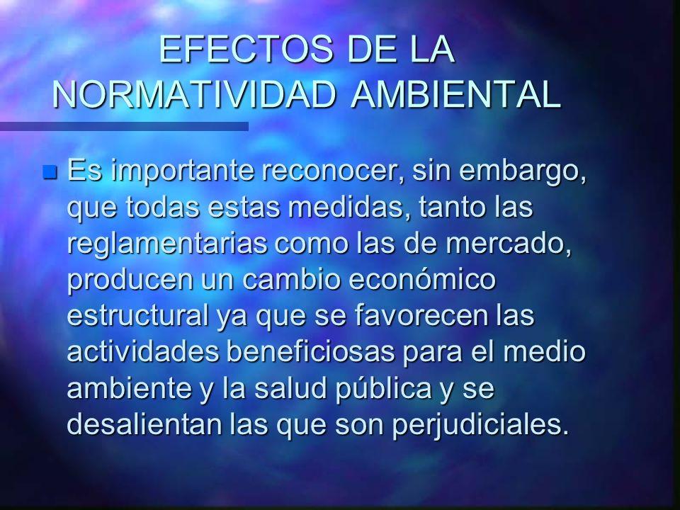 EFECTOS DE LA NORMATIVIDAD AMBIENTAL n Es importante reconocer, sin embargo, que todas estas medidas, tanto las reglamentarias como las de mercado, pr