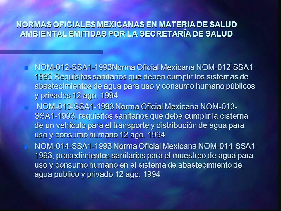 NORMAS OFICIALES MEXICANAS EN MATERIA DE SALUD AMBIENTAL EMITIDAS POR LA SECRETARÍA DE SALUD n NOM-012-SSA1-1993Norma Oficial Mexicana NOM-012-SSA1- 1