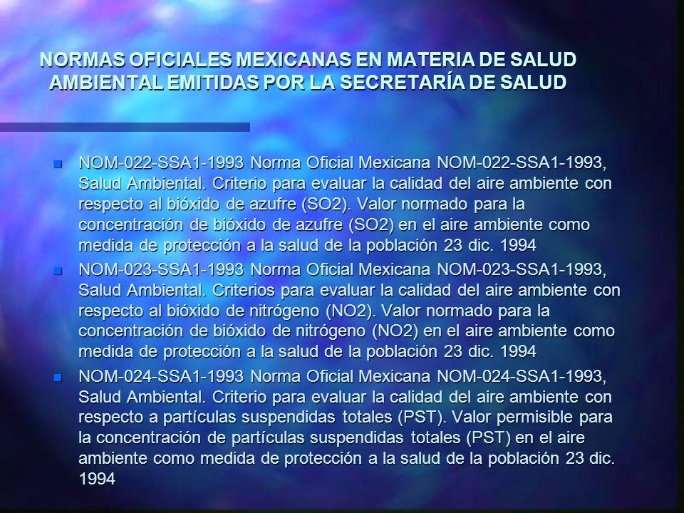NORMAS OFICIALES MEXICANAS EN MATERIA DE SALUD AMBIENTAL EMITIDAS POR LA SECRETARÍA DE SALUD n NOM-022-SSA1-1993 Norma Oficial Mexicana NOM-022-SSA1-1