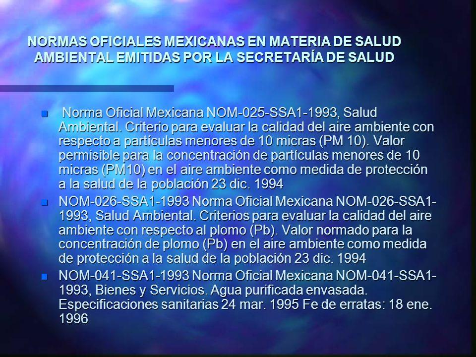 NORMAS OFICIALES MEXICANAS EN MATERIA DE SALUD AMBIENTAL EMITIDAS POR LA SECRETARÍA DE SALUD n Norma Oficial Mexicana NOM-025-SSA1-1993, Salud Ambient