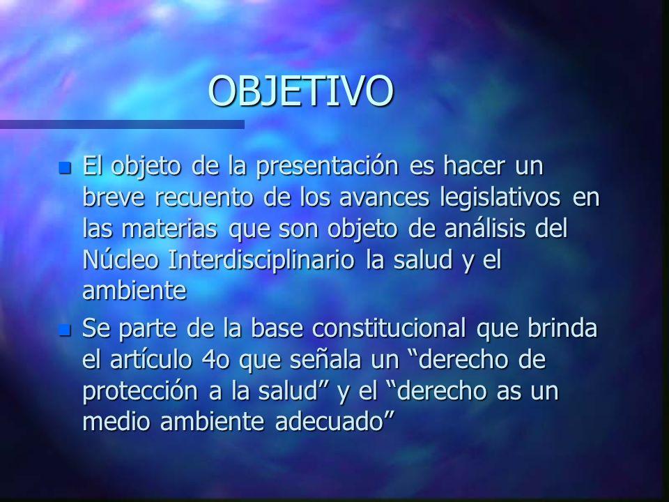 OBJETIVO n El objeto de la presentación es hacer un breve recuento de los avances legislativos en las materias que son objeto de análisis del Núcleo I