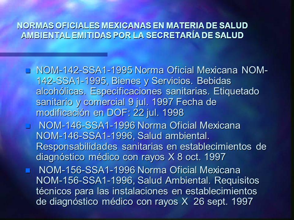 NORMAS OFICIALES MEXICANAS EN MATERIA DE SALUD AMBIENTAL EMITIDAS POR LA SECRETARÍA DE SALUD n NOM-142-SSA1-1995 Norma Oficial Mexicana NOM- 142-SSA1-