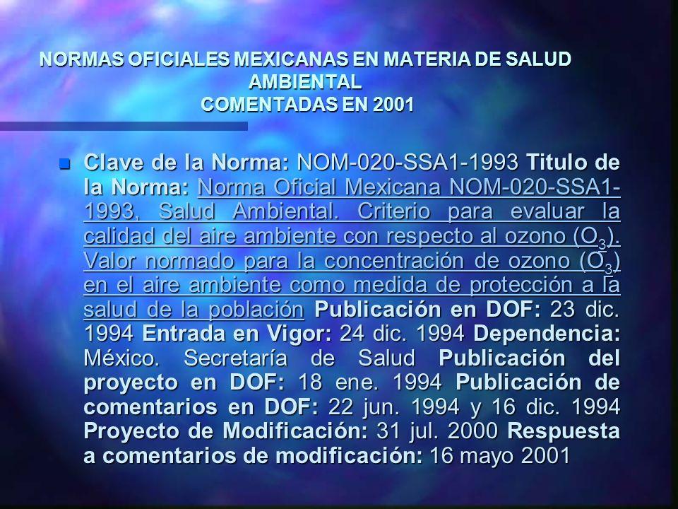 NORMAS OFICIALES MEXICANAS EN MATERIA DE SALUD AMBIENTAL COMENTADAS EN 2001 n Clave de la Norma: NOM-020-SSA1-1993 Titulo de la Norma: Norma Oficial M