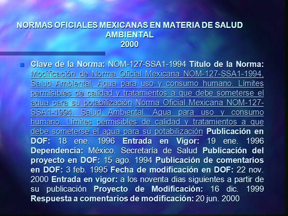 NORMAS OFICIALES MEXICANAS EN MATERIA DE SALUD AMBIENTAL 2000 n Clave de la Norma: NOM-127-SSA1-1994 Titulo de la Norma: Modificación de Norma Oficial