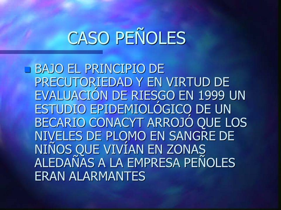 CASO PEÑOLES n BAJO EL PRINCIPIO DE PRECUTORIEDAD Y EN VIRTUD DE EVALUACIÓN DE RIESGO EN 1999 UN ESTUDIO EPIDEMIOLÓGICO DE UN BECARIO CONACYT ARROJÓ Q