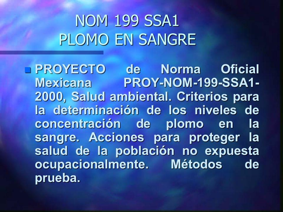 NOM 199 SSA1 PLOMO EN SANGRE n PROYECTO de Norma Oficial Mexicana PROY-NOM-199-SSA1- 2000, Salud ambiental. Criterios para la determinación de los niv