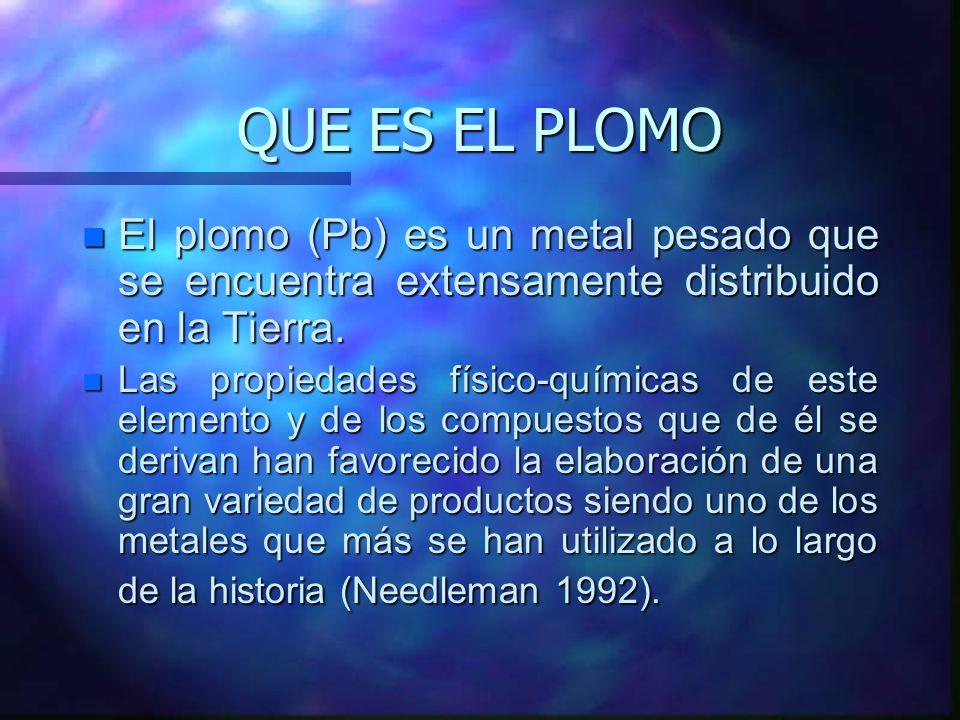QUE ES EL PLOMO n El plomo (Pb) es un metal pesado que se encuentra extensamente distribuido en la Tierra. n Las propiedades físico-químicas de este e