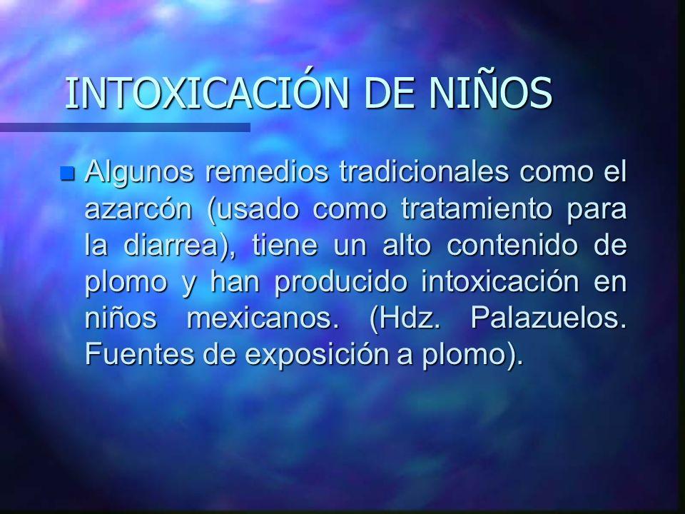 INTOXICACIÓN DE NIÑOS n Algunos remedios tradicionales como el azarcón (usado como tratamiento para la diarrea), tiene un alto contenido de plomo y ha
