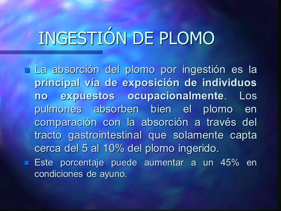 INGESTIÓN DE PLOMO n La absorción del plomo por ingestión es la principal vía de exposición de individuos no expuestos ocupacionalmente. Los pulmones
