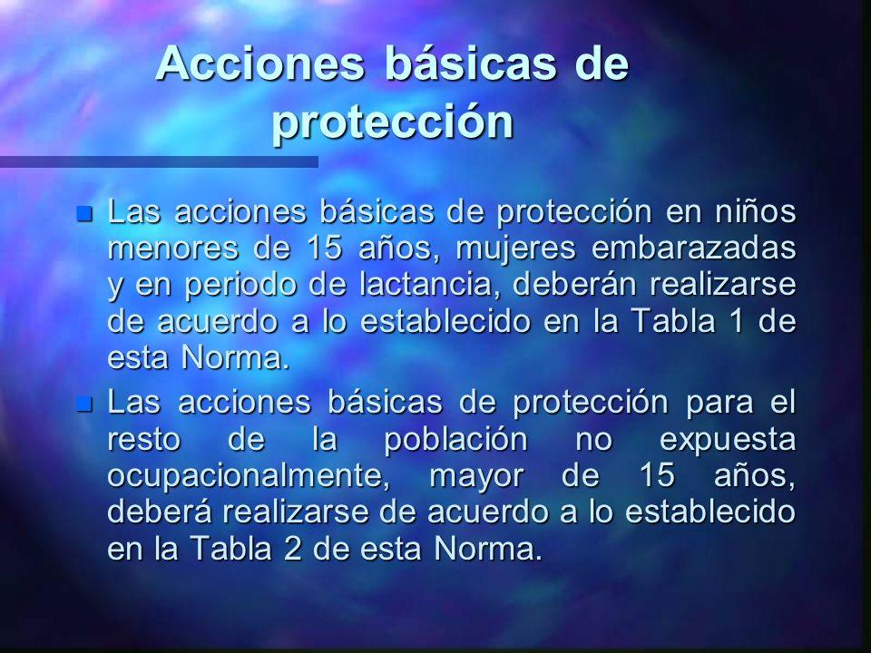 Acciones básicas de protección n Las acciones básicas de protección en niños menores de 15 años, mujeres embarazadas y en periodo de lactancia, deberá