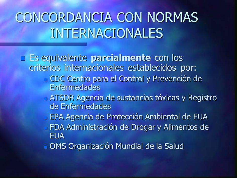 CONCORDANCIA CON NORMAS INTERNACIONALES n Es equivalente parcialmente con los criterios internacionales establecidos por: n CDC Centro para el Control