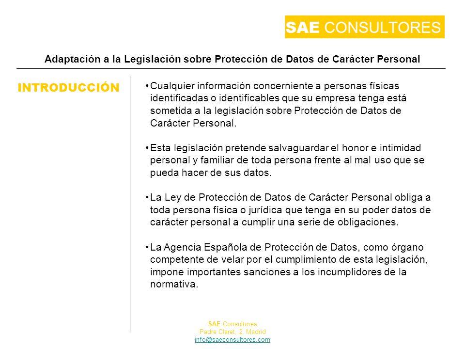 Adaptación a la Legislación sobre Protección de Datos de Carácter Personal INTRODUCCIÓN Cualquier información concerniente a personas físicas identifi