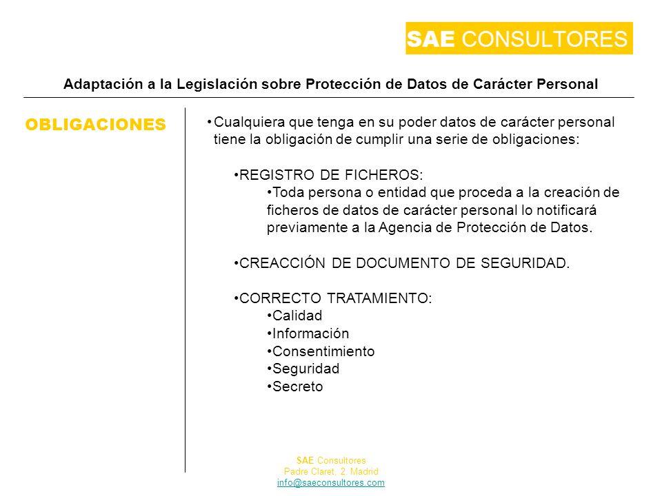 Adaptación a la Legislación sobre Protección de Datos de Carácter Personal OBLIGACIONES Cualquiera que tenga en su poder datos de carácter personal ti