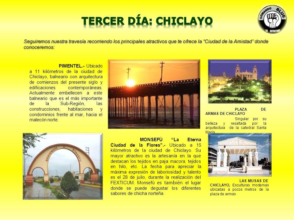 MUSEO SICÁN.- Ubicado a 20 km de la ciudad de Chiclayo, tiene la forma de una pirámide trunca que se inspira en los majestuoso y monumentales centros