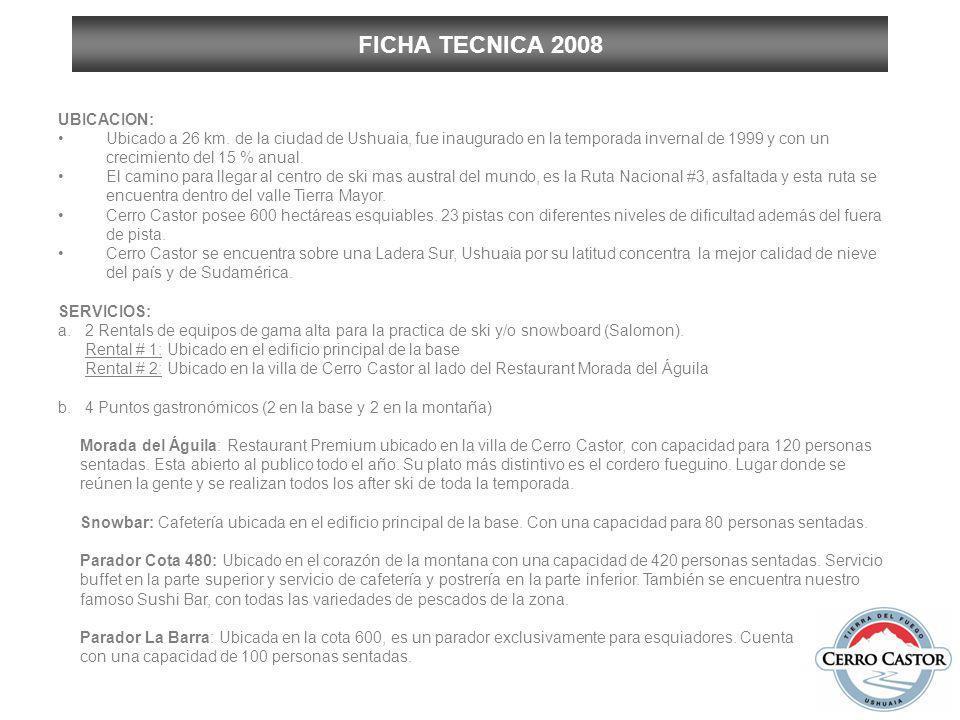 FICHA TECNICA 2008 UBICACION: Ubicado a 26 km. de la ciudad de Ushuaia, fue inaugurado en la temporada invernal de 1999 y con un crecimiento del 15 %