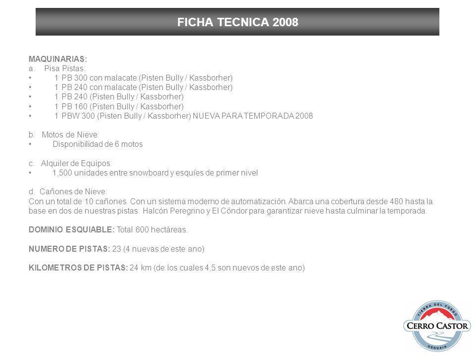 FICHA TECNICA 2008 MAQUINARIAS: a. Pisa Pistas: 1 PB 300 con malacate (Pisten Bully / Kassborher) 1 PB 240 con malacate (Pisten Bully / Kassborher) 1