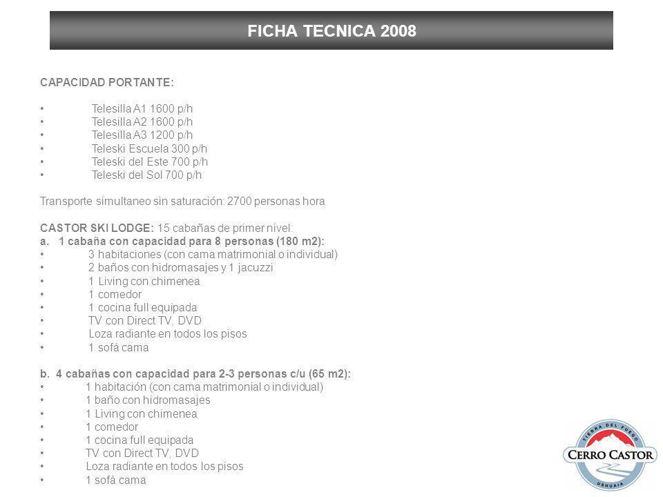 FICHA TECNICA 2008 CAPACIDAD PORTANTE: Telesilla A1 1600 p/h Telesilla A2 1600 p/h Telesilla A3 1200 p/h Teleski Escuela 300 p/h Teleski del Este 700