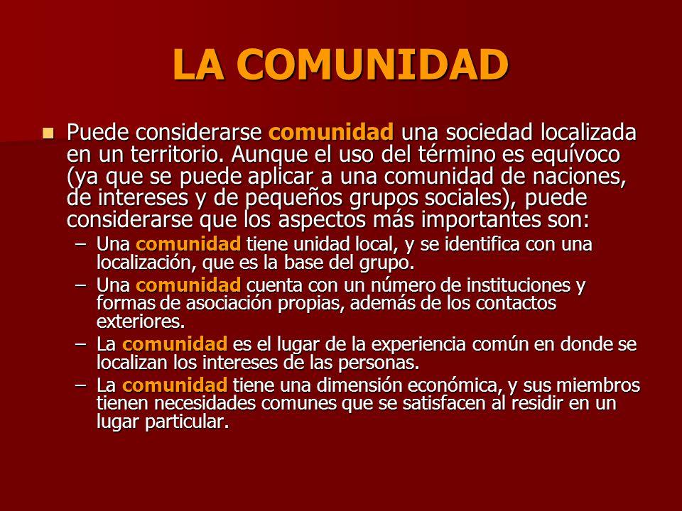 LA COMUNIDAD La comunidad tiene además una dimensión temporal, que tiene que ver con la permanencia y la acumulación de experiencias del grupo, aunque los individuos tengan movilidad.