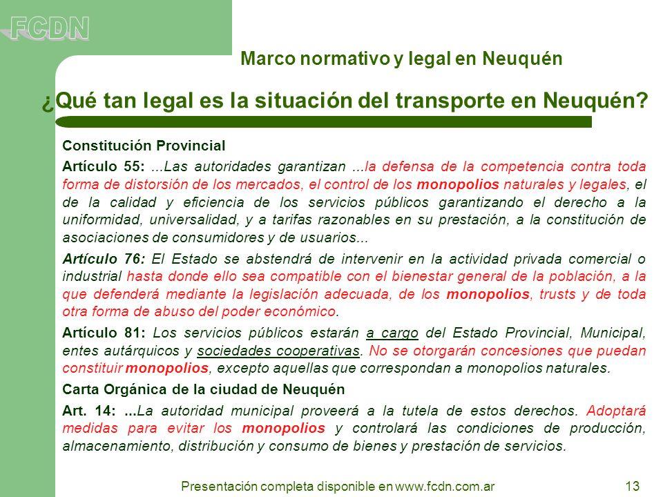 13 Presentación completa disponible en www.fcdn.com.ar Marco normativo y legal en Neuquén ¿Qué tan legal es la situación del transporte en Neuquén? Co