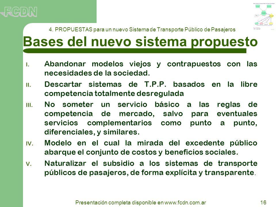 16 Presentación completa disponible en www.fcdn.com.ar 4. PROPUESTAS para un nuevo Sistema de Transporte Público de Pasajeros Bases del nuevo sistema
