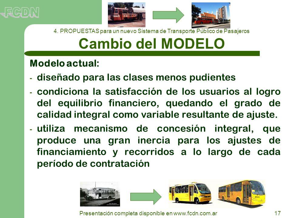 17 Presentación completa disponible en www.fcdn.com.ar Modelo actual: - diseñado para las clases menos pudientes - condiciona la satisfacción de los u