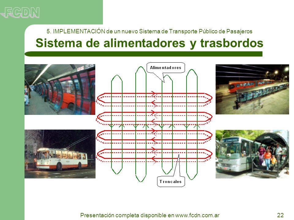 22 Presentación completa disponible en www.fcdn.com.ar 5. IMPLEMENTACIÓN de un nuevo Sistema de Transporte Público de Pasajeros Sistema de alimentador