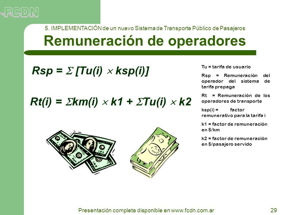 29 Presentación completa disponible en www.fcdn.com.ar 5. IMPLEMENTACIÓN de un nuevo Sistema de Transporte Público de Pasajeros Remuneración de operad