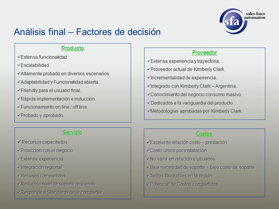 Producto Extensa funcionalidad Extensa funcionalidad Escalabilidad Escalabilidad Altamente probado en diversos escenarios Altamente probado en diverso