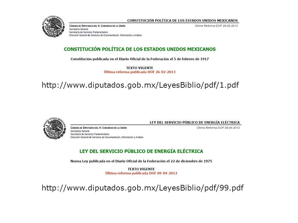 http://www.diputados.gob.mx/LeyesBiblio/pdf/1.pdf http://www.diputados.gob.mx/LeyesBiblio/pdf/99.pdf