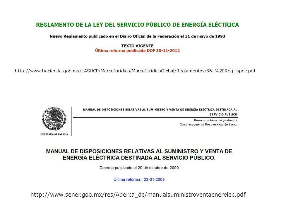 http://www.hacienda.gob.mx/LASHCP/MarcoJuridico/MarcoJuridicoGlobal/Reglamentos/36_%20Reg_lspee.pdf http://www.sener.gob.mx/res/Aderca_de/manualsuministroventaenerelec.pdf