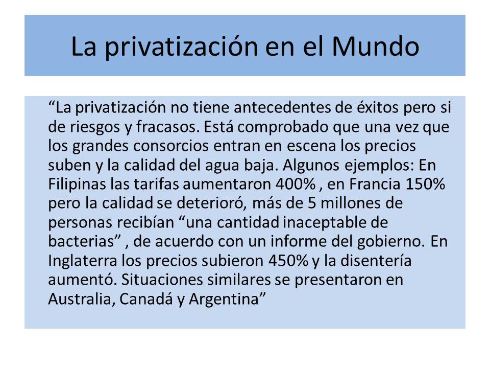 La privatización en el Mundo La privatización no tiene antecedentes de éxitos pero si de riesgos y fracasos.