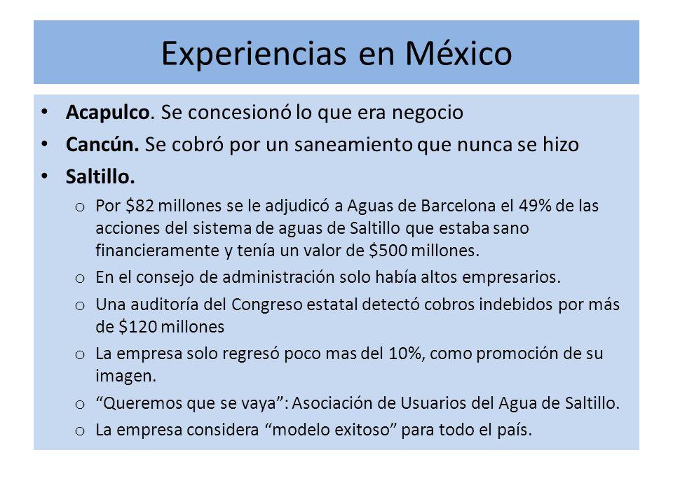 Experiencias en México Acapulco.Se concesionó lo que era negocio Cancún.